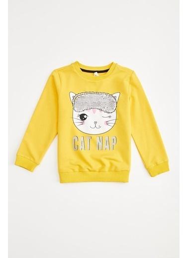 DeFacto Kız Çocuk  Baskılı Sweatshirt Sarı